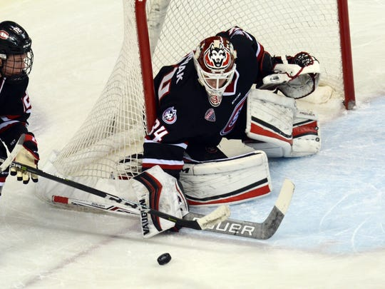 St. Cloud State's David Hrenak guards the post on Saturday in Oxford, Ohio. Hrenak made 29 saves for his third college shutout in a 4-0 win for the Huskies.