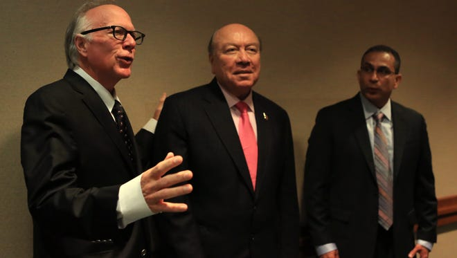 """State Rep. Todd Hunter (from left), state Sen. Juan """"Chuy"""" Hinojosa and state Rep. Abel Herrero championed domestic violence-related bills this session with input from the Corpus Christi community."""