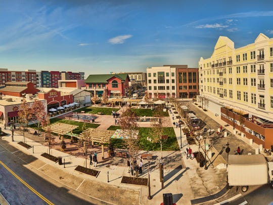 Panoramic view of Liberty Center development in Liberty