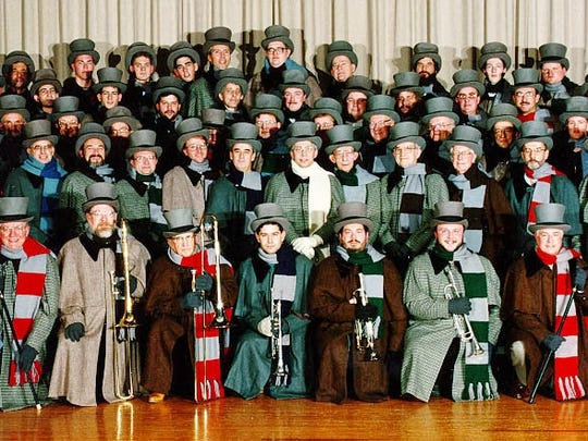 Each year, the Glen Rock Carolers sing from midnight to dawn on Christmas, continuing a 170-year tradition in the York County borough.  Pictured: 1992 members