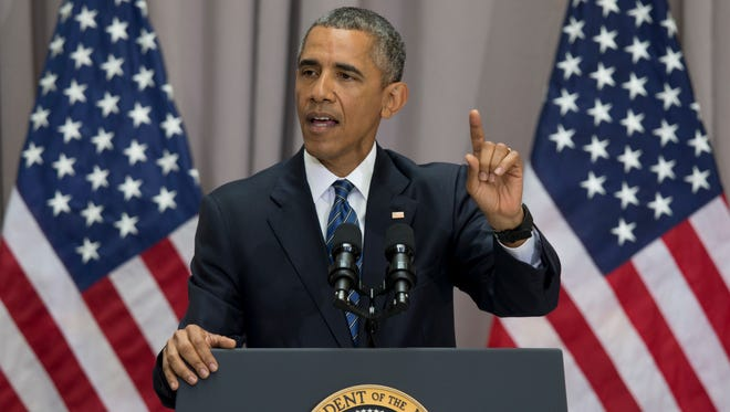 President Barack Obama said the nuclear deal with Iran builds on the tradition of strong diplomacy that won the Cold War without firing any shots.