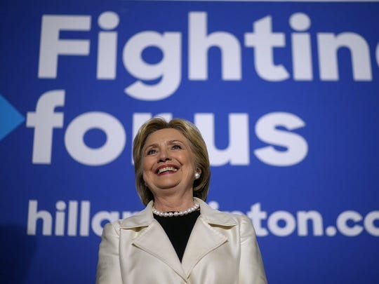 Democratic presidential candidate Hillary Clinton looks