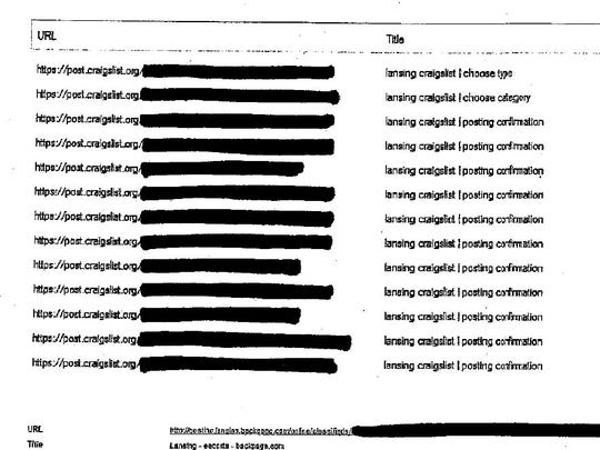 This screen grab from a Michigan State University Police Department report shows the sites to which advertisements offering sex with a 14-year-old girl were posted online.