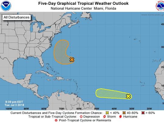 Two storms are shown in the National Hurricane Center's