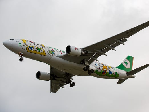 A Hello Kitty Airbus A330 lands in Taipei-Taoyuan International