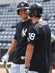 New York Yankees infielder Greg Bird (33) is transferring his rehab to Class AAA Scranton/Wilkes-Barre on Monday.