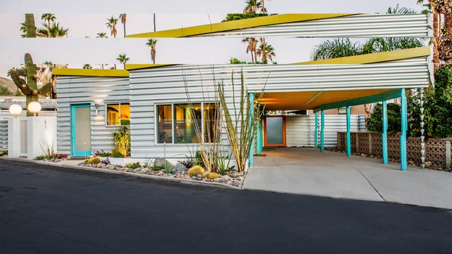 The festive and colorful approach to this modern mobile home is reflected in both the interior design and the exterior outdoor living spaces for seamless transitions.