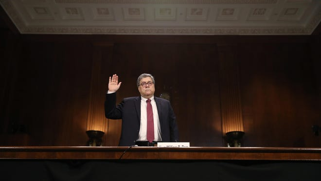 Attorney General William Barr is sworn in to testify before the Senate Judiciary Committee hearing on Capitol Hill in Washington, Wednesday, May 1, 2019, on the Mueller Report. (AP Photo/Andrew Harnik)