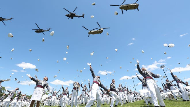 President Donald J. Trump addresses the graduates of the Class of 2020 during the commencement ceremony on the Plain at West Point.