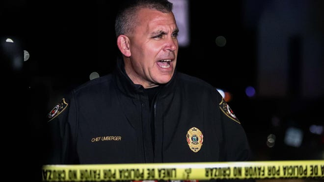 DeLand Police Chief Jason Umberger, shown at a crime scene last year, said several recruits are training to fill the role of the six officers who just left the force.