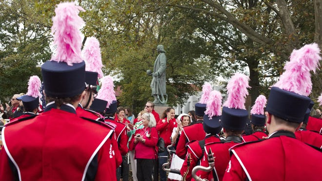 The annual Columbus Day Parade in Newport ends at the statue.