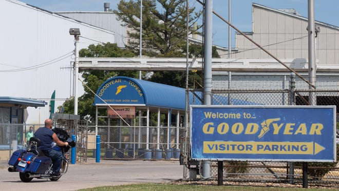 """Employees of the Goodyear distribution center in Topeka enter the facility Thursday afternoon. The plant has come under fire after the plant showed a slide during a training stating """"Black Lives Matter"""" and LGBT pride apparel were """"acceptable"""" while """"Blue Lives Matter,"""" """"All Lives Matter,"""" """"MAGA Attire,"""" and other political materials were labeled """"unacceptable."""""""