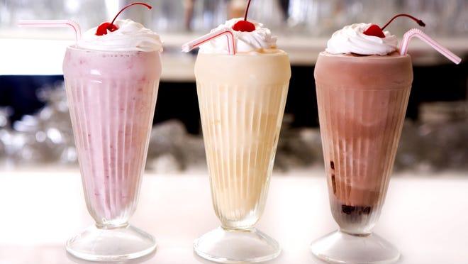 Milkshakes in classic flavors: strawberry, vanilla and chocolate. ( Photo by iStock)