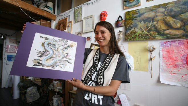 Artist Meghan Orbek shows off some of her work in her studio at the YoHo studios on Nepperhan Avenue in Yonkers. The 11th Annual YoHo Artists Open Studios will be held this weekend.