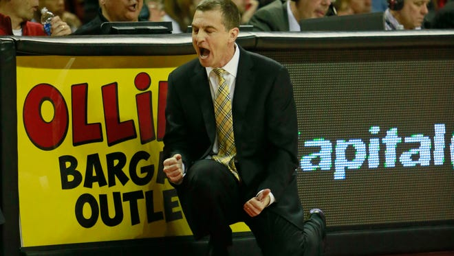 Maryland Terrapins head coach Mark Turgeon reacts from the sidelines against the Syracuse Orange at Comcast Center.