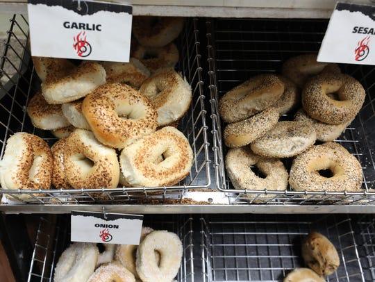 Bagels in the bins at JV Hot Bagels II in Shrub Oak,
