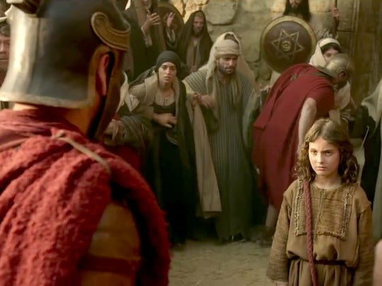 "Jesus faces down a Roman soldier (Sean Bean, left) in ""The Young Messiah."""