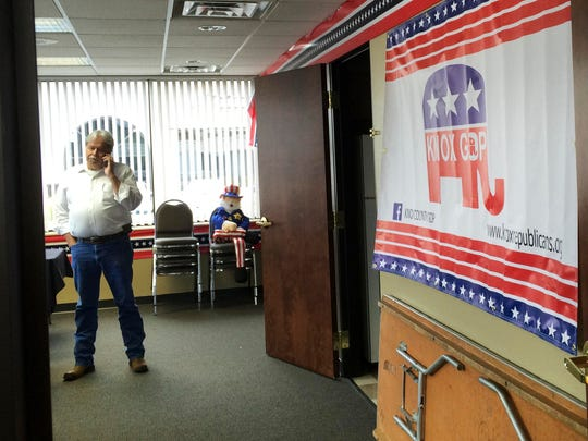 Knox County Republican Chairman Buddy Burkhardt is pictured Thursday, Aug. 18, 2016, at the Trump for President headquarters.