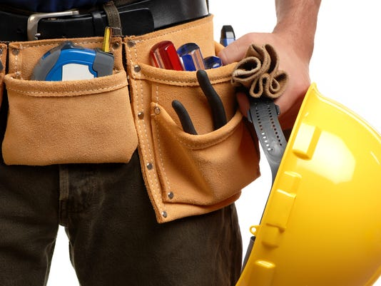 Construction Contractor Carpenter Tool belt hardhat Isolated on White Background