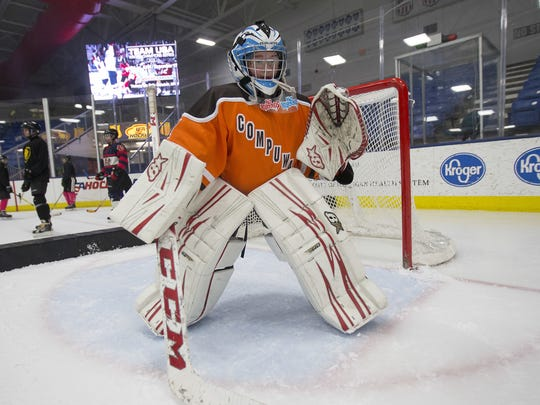 Goalie Katie Nowak of Compuware's U12 AAA girls team participates during a December clinic at USA Hockey Arena. The Livonia resident will need to find a new hockey organization to play for in 2017-18.