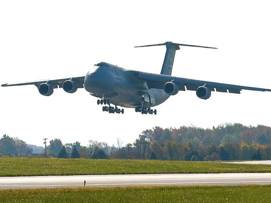 A C-5M Super Galaxy touches down at Dover Air Force Base, Del.