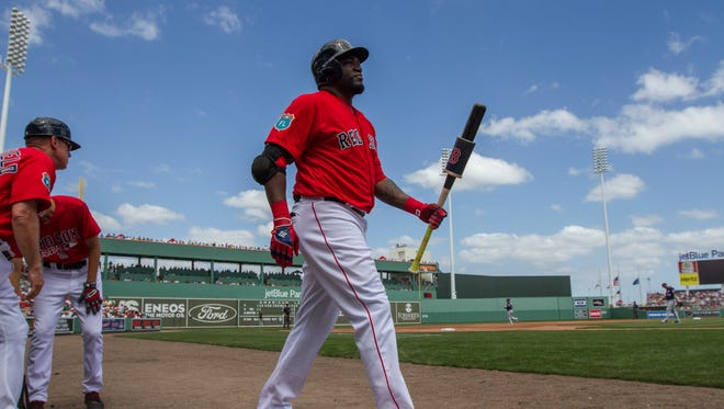 Boston Red Sox designated hitter David Ortiz makes his way to the on deck circle while facing local rivals Minnesota Twins Thursday afternoon at jetBlue Park in Estero.