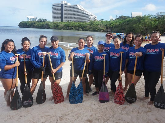 Members of the Guam national women's paddling team trained for the Pacific Games by competing at a local race at Lotte Hotel Guam on  June 6.