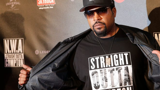 """FILE - In this Aug. 24, 2015 file photo, U.S music producer and rapper O'Shea Jackson, also known by his stage name Ice Cube poses in Paris. The Library of Congress announced Wednesday, March 29, 2017, that N.W.A's album, """"Straight Outta Compton,"""" would be preserved for posterity. The library selects 25 recordings every year for the registry in recognition of their historical, artistic or cultural significance.  (AP Photo/Christophe Ena, File)"""