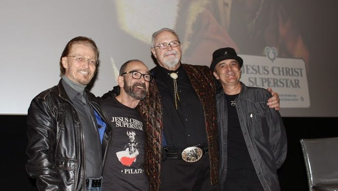 """The four main cast members from the 1973 film version of """"Jesus Christ Superstar"""": Ted Neely (Jesus), Barry Dennen (Pontius Pilate), Bob Binghman (Caiaphas) and Kurt Yaghjian (Annas)."""