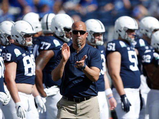ORLANDO, FL - JANUARY 01: Head coach James Franklin of the Penn State Nittany Lions rallies his team prior to the VRBO Citrus Bowl against the Kentucky Wildcats at Camping World Stadium on January 1, 2019 in Orlando, Florida. (Photo by Joe Robbins/Getty Images) ORG XMIT: 775241458 ORIG FILE ID: 1076400594