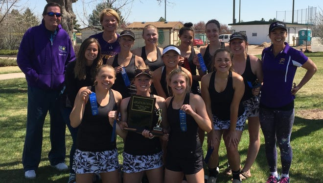 The Fort Collins High School tennis team won the Front Range League tournament title last week in Greeley. Picture from left bottom row  Delsie Johnson, Emma Byrne and Lilly Tucker. Middle row: Nicole Pihlstrom, Paige Lowry, Natalie Hamill and Ella Johnson. Back row coach Tim Dolan, coach Joann Johnson, Aurora Slaughter, Alyssa Kawakami, Sunny Taylor, Holly Faust and coach Tatyana Cropp.