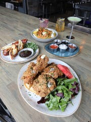 The Shrimp and Grits; grilled stuffed pretzel; Chicken