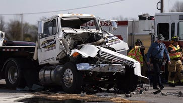 Republic police on the scene of a crash Tuesday on Highway 60 in Republic.