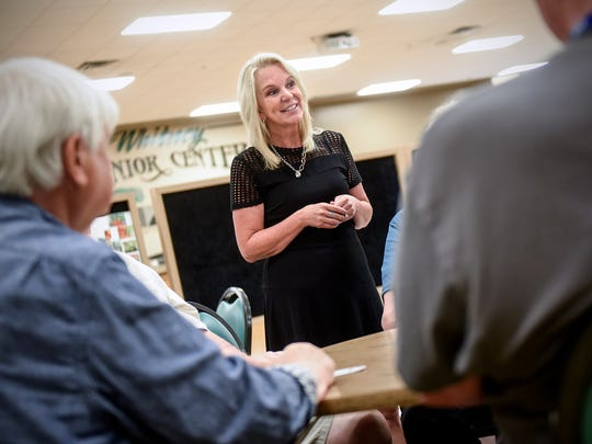State Sen. Karin Housley talks with seniors Thursday, July 19, at the Whitney Senior Center in St. Cloud. Housley is the Republican nominee in a special election to replace former Sen. Al Franken.