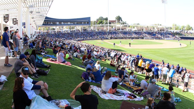 A large crowd was on hand last March at Maryvale Baseball Park in Arizona to watch the Milwaukee Brewers take on the Colorado Rockies in a spring training game.