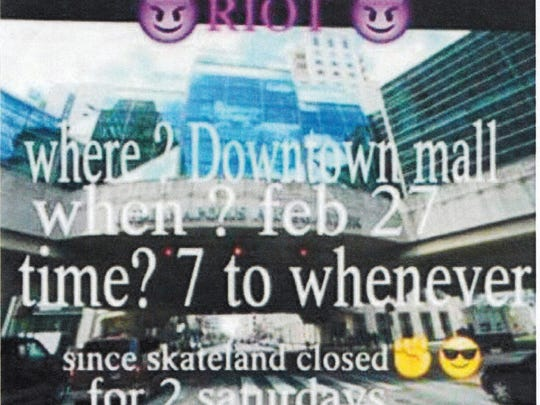 A social media flier for a planned teen gathering at Circle Centre mall.