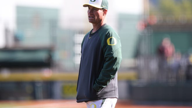 Oregon Baseball takes on Michigan State at PK Park, in Eugene, Ore on April 4, 2015 (Eric Evans Photography)