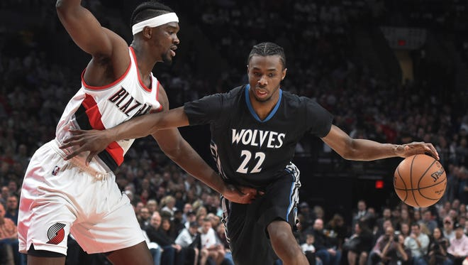 Minnesota Timberwolves forward Andrew Wiggins drives to the basket Portland Trail Blazers forward Noah Vonleh during the first half of an NBA basketball game in Portland, Ore., Thursday, April 6.