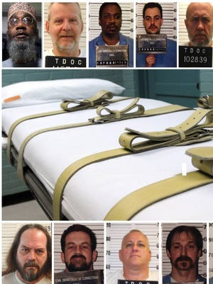 This illustration shows nine of 11 death row inmates the state of Tennessee is seeking to execute.