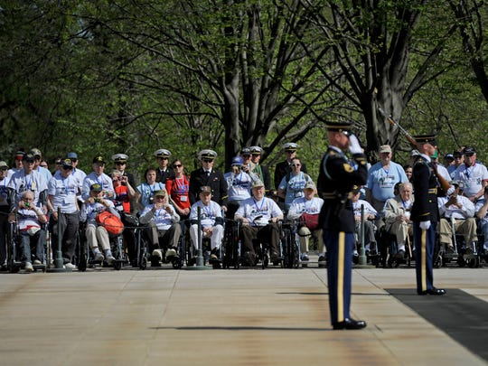 The first stop for the veterans was Arlington National Cemetery, where they witnessed the Changing of the Guard at the Tomb of the Unknown Soldier.