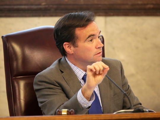 Cincinnati Mayor John Cranley talks about the Cincinnati Bell Connector during council meeting.
