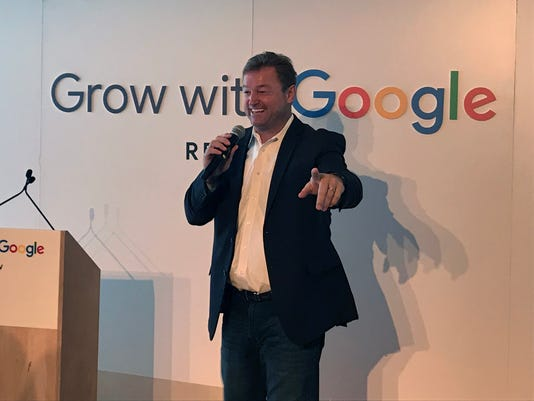 Sen. Dean Heller, R-Nev., speaks at the Grow With Google event in Reno on Aug. 6, 2018.
