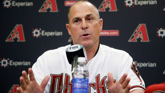 New Arizona Diamondbacks manager Chip Hale talks about managing the club during a news conference Monday, in Phoenix.  The former Mets and Diamondbacks third-base coach was hired Monday to replace the fired  Kirk Gibson as the Diamondbacks manager.