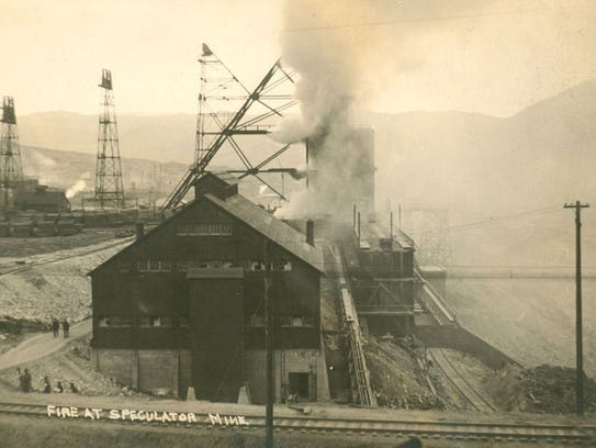 A historic postcard shows the fire at the Speculator