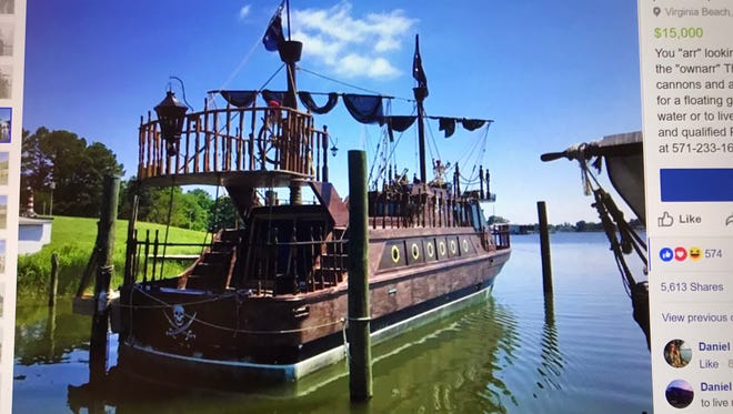 """A Virginia Beach man is offering a """"pirate ship"""" for sale."""