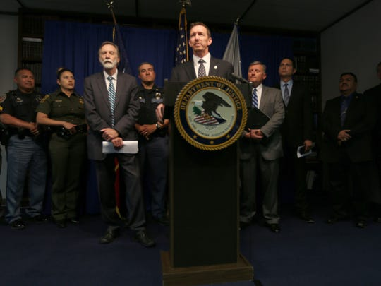Will Glaspy, Drug Enforcement Administration special agent in charge in El Paso, speaks during a news conference Wednesday at the federal building in Downtown El Paso.
