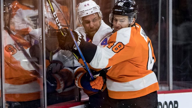 Defenseman Robert Hagg looks like he's safe with two cuts remaining from the Flyers' roster.