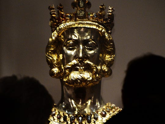 Jan. 28, 2014: The bust of Charlemagne is photographed in the treasure chamber of the cathedral of Aachen, western Germany.