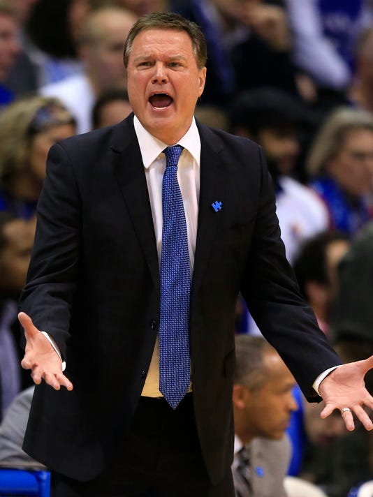 Kansas head coach Bill Self pleads with his team during the second half of an NCAA college basketball game against Iowa State in Lawrence, Kan., Saturday, Feb. 4, 2017. (AP Photo/Orlin Wagner)