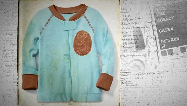 According to the National Center for Missing and Exploited Children, the child had brown hair and was found wearing a light blue pajama top with a deer design on the left chest area.